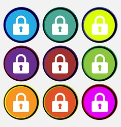 Pad lock icon sign nine multi-colored round vector