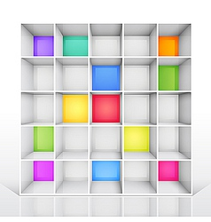 Empty colorful bookshelf vector