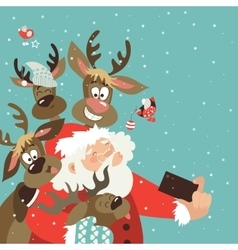 Santa and reindeers take a selfie vector