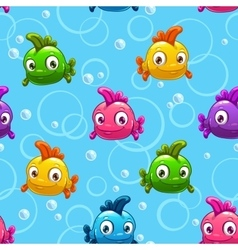 Seamless pattern with cartoon colorful fishes vector