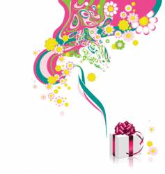 floral background with gift box vector image