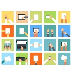 Flat hand icons holding various devices and hands vector
