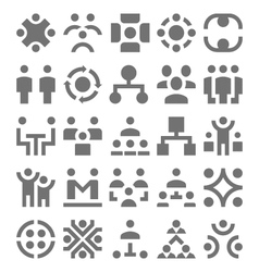 Teamwork Organization Icons 1 vector image