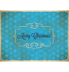 Aged Christmas vintage frame with snowflakes vector image