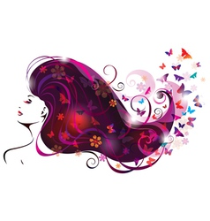 beautiful woman and butterflies vector image vector image