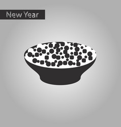Black and white style icon of salad plate vector