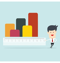 Business man use ruler measure graph vector