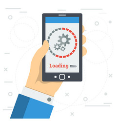 Businessman hand with loading app on monitor vector