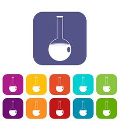 Chemical beaker icons set flat vector