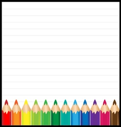 Colorful pencil with paper background vector image