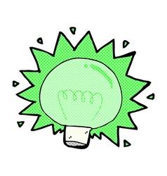 Comic cartoon flashing green light bulb vector