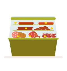 counter with meat products sausage and ham in the vector image
