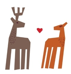 Couple deers and heart isolate on white vector image