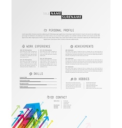 Creative cv template with colorful arrows - light vector