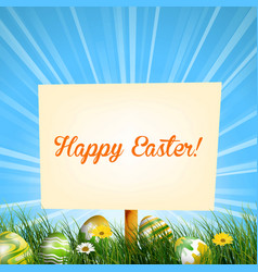 easter sign background in meadow vector image vector image