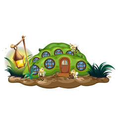 Greenpea house with bees in garden vector