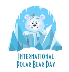 Greeting card international polar bear day vector
