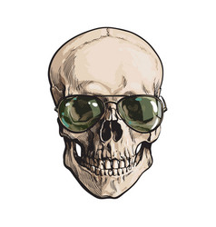 hand drawn human skull wearing green aviator vector image