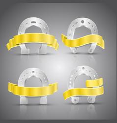 horseshoe and ribbon concept icons set vector image