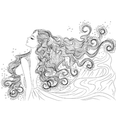 Line art of water element girl vector image