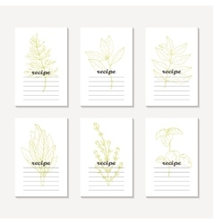 Recipe cards collection with hand drawn spicy vector