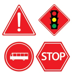 Road sign of bus stop hazard warning red traffic vector