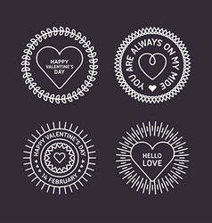 Set of Decorative Circle Frames with Hearts Happy vector image vector image