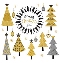 Set of isolated christmas gold tree vector