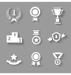 Set of white award success and victory vector