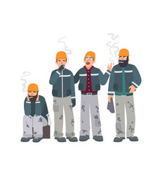 smoking place builders on smoke break mans in a vector image