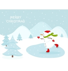 Snowman ice skating outdoors vector image vector image