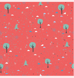 tree seamless pattern on red background with dots vector image