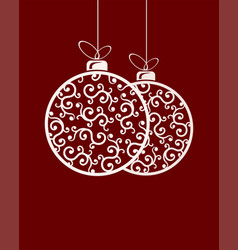 two christmas balls with ornament and bow vector image