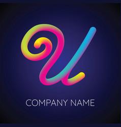 U letter logo icon blending color vector
