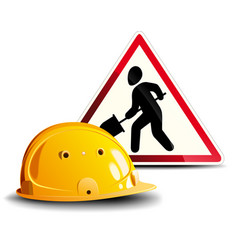working sign and helmet vector image vector image