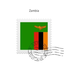 Zambia Flag Postage Stamp vector image
