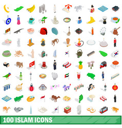 100 islam icons set isometric 3d style vector