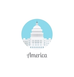 America landmark isolated round icon vector
