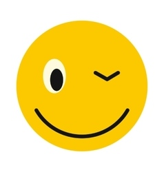 Winking smiley icon flat style vector