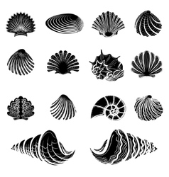 Black sea shells silhouettes collection vector