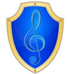Shield with treble clef 1 vector