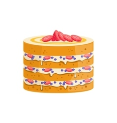 Sponge Cake With Berries And Cream Decorated Big vector image