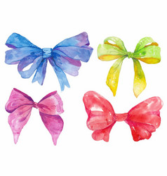 Watercolor hand-drawn set of bows vector