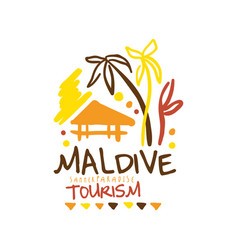 Maldive summer paradise tourism logo template hand vector