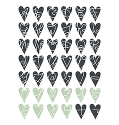 Heart letters and numbers vector
