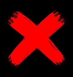 Red grunge brush stroke cross no decline sign mark vector