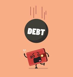 Heavy debt falling to frightened wallet vector