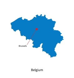 Detailed map of belgium and capital city brussels vector
