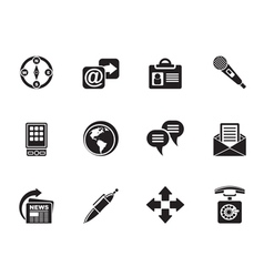 Silhouette business and internet icons vector