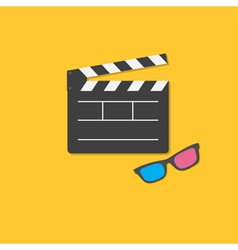 Open movie clapper board and 3d glasses template vector